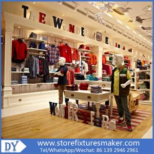 Quality OEM Service Wooden Lacquer Youth Clothing Stores Display Furnitures  With Led For Sale