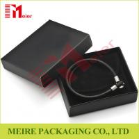 Luxury glossy black Bracelet small cardboard jewelry boxes wholesale with black pouch for man