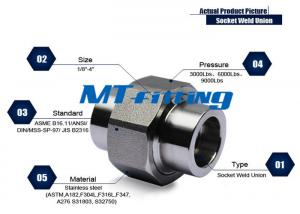 China ASME B16.11 F347 Stainless Steel Union Forged High Pressure Pipe Fittings Socket Welded on sale