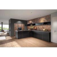 Wooden Edge Sealed Standard Kitchen Cabinets Slab Countertop Pure Black Color