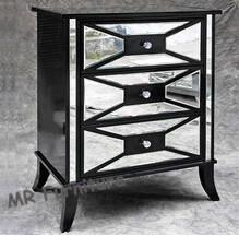 Quality Black Hollywood Mirrored Night Stands For Bedroom 4mm Mirror Thickness for sale