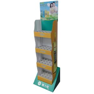 China Store Floral water retail POP cardboard displays shelf with holes on sale