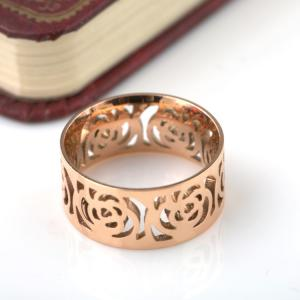 China Women Fashion Stainless Steel Jewelry Ring , Hollow pattern Ring, Camellia shape gold Ring on sale