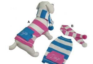 China Knitted 41cm Cotton Stripe Dog Sweater on sale