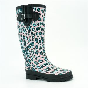 China BSCI Size 9 Anti Dust Waterproof Rubber Rain Boots With Leopard Printed on sale