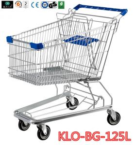 China Midlle Size Supermarket Shopping Trolley With PVC , PU , TPR Caster 125L on sale