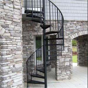 China Exterior stainless steel spiral staircase design /prefabricated outdoor metal stairs on sale