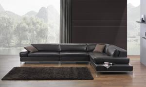 Black Sponge Modern Sectional Sofas , Large Sectional Corner Leather ...