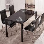 Powder Coating Glass Dining Table Set 4 Chairs For Family Dinner Party