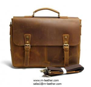 China 2017 manufacturer low price good quality italy crazy horse leather messenger briefcase bag on sale