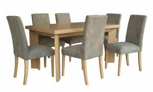 China Nordic Style Ash Wood Veneer Uphostery Hotel Dining Table With Six Chair on sale