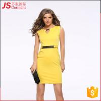 JS 20 Good Sales Enough Stocked Yellow Mature Lady Pencil Formal Dress 701