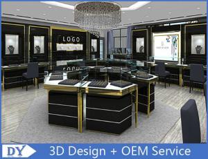 Custom Made Mirror Black Glass Jewelry Display Cases / Retail Jewellery Display  Cabinets