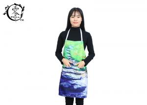 China Custom Pastoral Oil Painting Apron Houseware Items , 3D Photo With Visible Center Pockets Digitally Printed Apron on sale