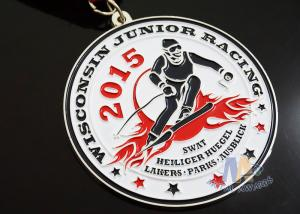Quality Red / White / Blue Ribbon Custom Sports Medals For Skating , Skiing Events for sale