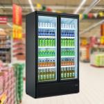 Supermarket Upright Double Door Drink Bottle Refrigerator Cooler Beverage Showcase
