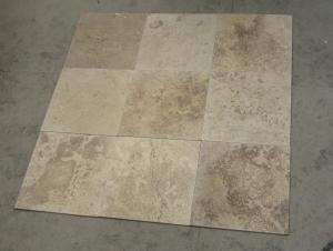 China Coffee Brown Travertine Stone Tile Natural Paving Stone Wall Tile Polished Honed Brushed on sale