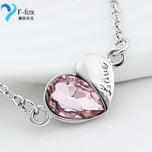 China New Lovers' Heart Women's 925 Sterling Silver Crystal Pendant in Different Color on sale