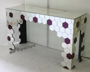 China Mirrored Living Room Console Table , Purple Silver Mirrored Entry Table on sale