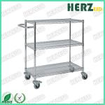 3 Layers Stainless Steel Wire Shelves , ESD Trolley For Control EPA Internal Transport Risks