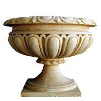 Custom Color Cast Iron Flower Pots Urn Planter For Landscape / Theme Park