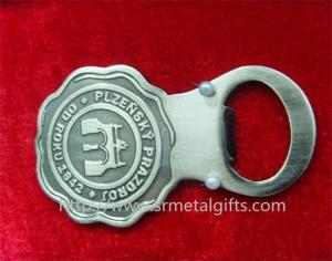 China Antique pewter metal bottle opener with engraved logo design, on sale