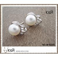 Fashion Jewelry Small 925 Sterling Silver Gemstone Earring with Imitated Pearl W-S235