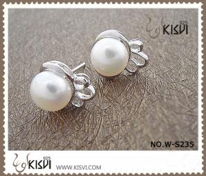China Fashion Jewelry Small 925 Sterling Silver Gemstone Earring with Imitated Pearl W-S235 on sale