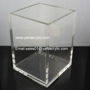 Fashion Polishing Contemporary Perspex Trash Can / Dustbin Box Acrylic  Storage Containers