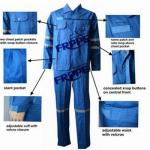Cotton Blue Fireproof Boiler Suit With Reflective Trim