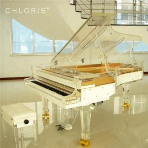 China Chloris Luxury Hotel Furniture Clear Acrylic Giant Stage concert grand piano 275 price with Colorful LED lights on sale