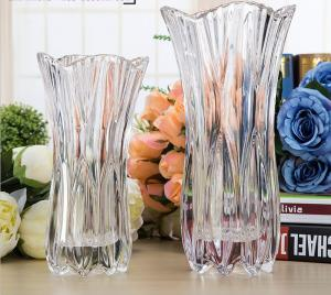 China Royal Glass Crystal Transparent Glass Vase Flower Decoration Machine Press on sale