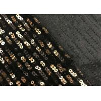 China Black Gold 3mm Sequin Pattern Fabric , Sparkly Sequin Fabric Straight Line Mesh Embroidery on sale