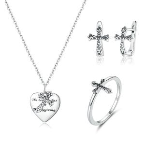 China Vine Cross S925 Sterling Silver Necklace Ring Earrings Costume Jewelry Set on sale
