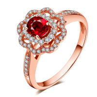 Diamond Jewelry Pricious Stone Natural Ruby Solid 18K Rose Gold Engagement Ring