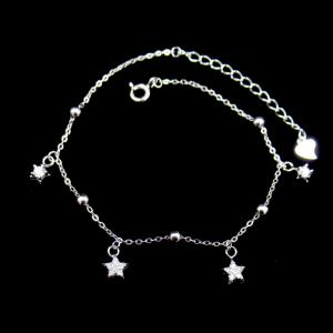 China Adjustable Sterling Silver Charm Bracelet , Sterling Silver Star Bracelet on sale