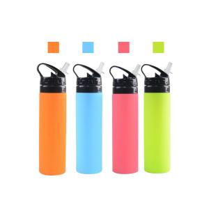 China Collapsible Silicone Water Bottle BPA Free 650ML Foldable Sports New on sale