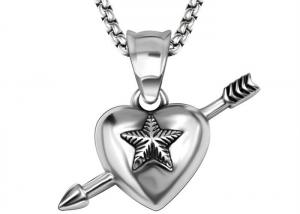 China Delicate Love Heart Necklace An Arrow Through A Heart Shape With Pentagram  Engraved on sale