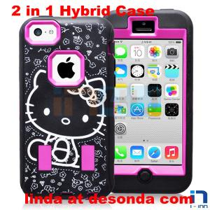 China Hello Kitty Laser Etching Combo Case For Iphone 5c  Hybride Case Cover on sale