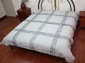 China DUVET  COVER WITH GATHERED RIBBON COTTON BED SET on sale