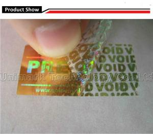 China Hologram security VOID stickers holographic labels tamper proof security label material on sale