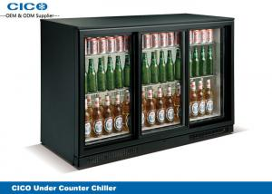China Bottle Beer Cooler Undercounter Fridge Sliding Door Embossed Aluminium Inner on sale