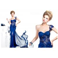 Sheath Sweetheart One Shoulder Celebrity Prom Dresses with Beaded Sequins Lace Applique
