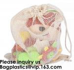 Cotton Packing Bags For Fruit & Vegetables, Organic Cotton Mesh Bags, Drawstring Cotton Net Bags, bagease, bagplastics
