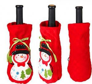 China Cute Christmas Fabric Wine Bottles Covers on sale
