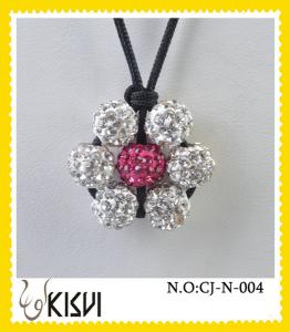 China Elegant designs silver & pink shamballa handcrafted crystal jewelry beads necklace on sale