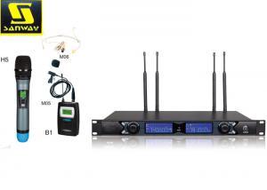 China Sanway Karaoke 2 Channel Wireless Microphone Long Range Hand Held UHF on sale