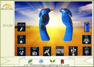 China Blue / White 3 AAA Battery Dynamo Solar LED Flashlight With FM / AM Radio on sale