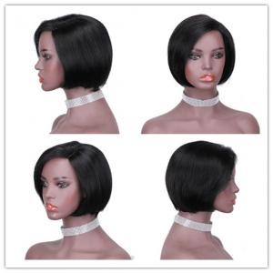 China Straight Glueless For Black Hand Weaving Front Lace Bobo Head Wig Human Hair Headgear 130% Density on sale