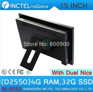 China All in one desktop pc with 5 wire Gtouch 15 inch LED touch 4G RAM 32G SSD Dual 1000Mbps Nics on sale